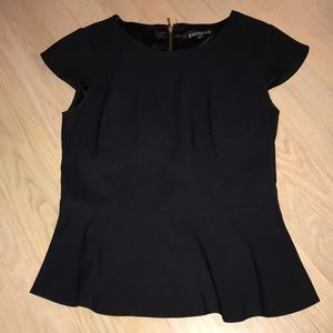 Express Black xs peplum top with gold zipper